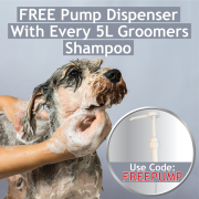 FREE pump dispenser with 5L Groomers shampoo- USE CODE: FREEPUMP