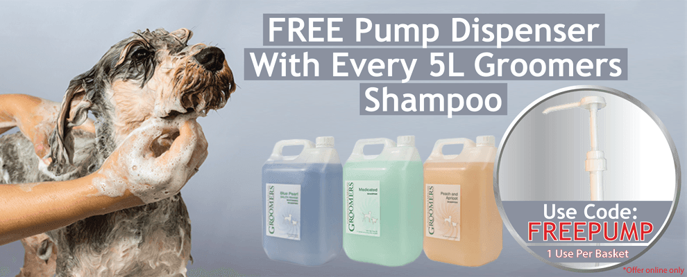 Free Pump with every 5L Groomers Shampoo