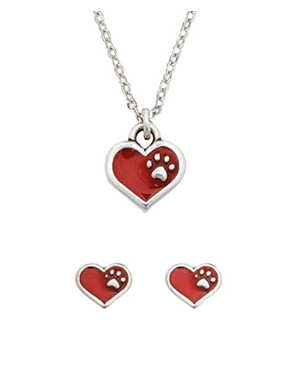 Pewter Heart Necklace and Earrings