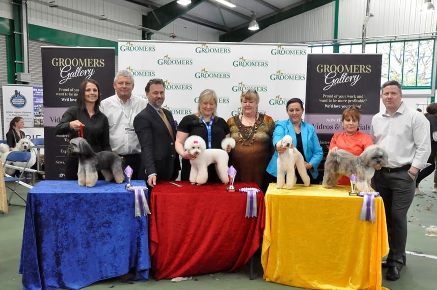 The Workshop Open Class Winners at Mastergroom 2015. From left to right: Laura Campanella, Graham Searle, Denys Lorrain, Gia Anslin, Sally Hawks, Corinna Verschuren, Zoe Duffy and Kevin Simpson.