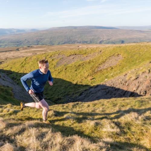 Man fell-running in the Yorkshire Dales