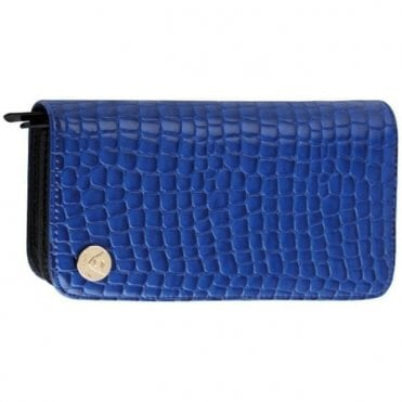 Aeolus Zipped Scissor Case - Blue Mock Snake