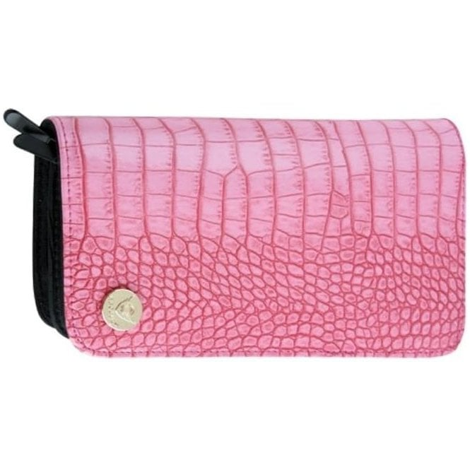 Aeolus Zipped Scissor Case - Pink Mock Croc