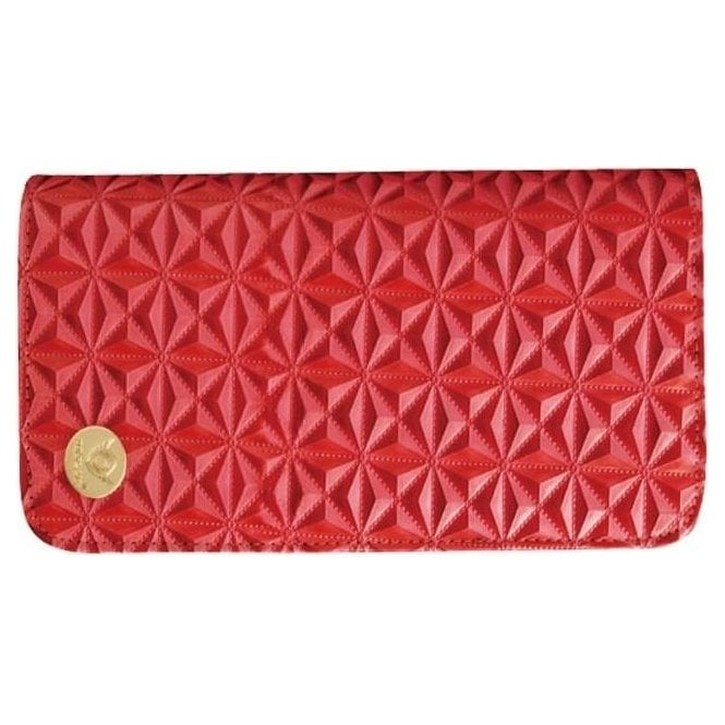 Aeolus Zipped Scissor Case - Red Geometric Pattern