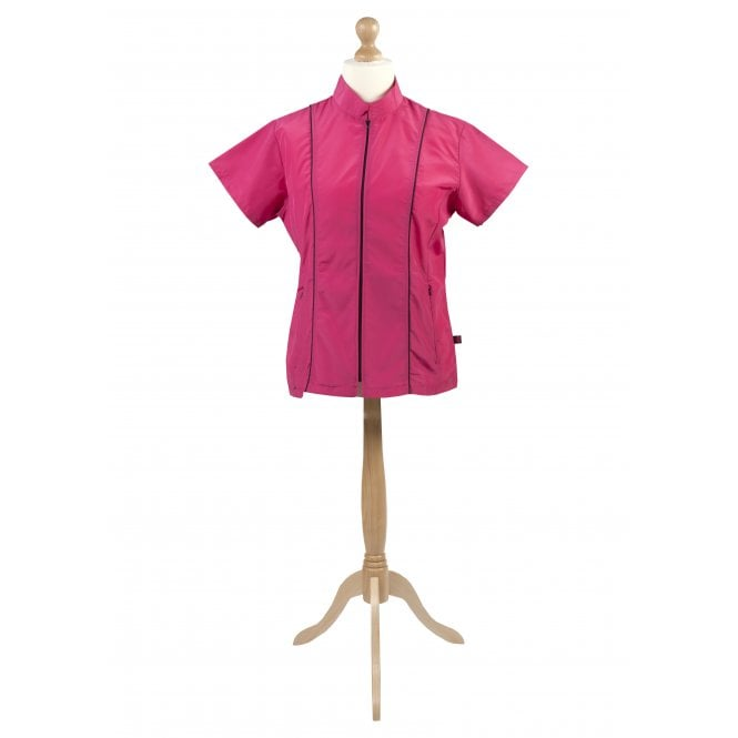 Groomers High-Neck Fitted Tunic - Pink, Black Trim