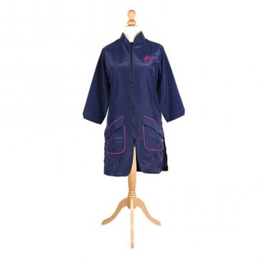 Groomers Mandarin Collar Long Jacket - Navy