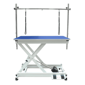 Groomers Metro II ExLo Electric Table – White Frame, Blue Table Top