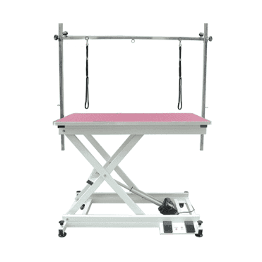 Groomers Metro II ExLo Electric Table – White Frame, Pink Table Top