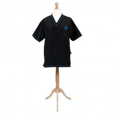 Groomers V-Neck Tunic - Black with Blue Trim
