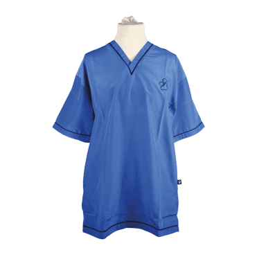 Groomers V-Neck Tunic - Blue with Black Trim