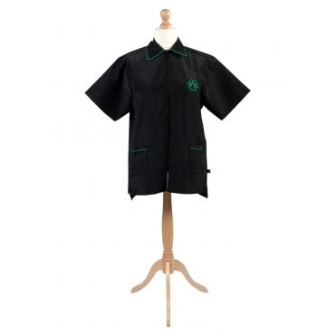 Groomers Zipped Jacket With Collar - Black, Green Trim
