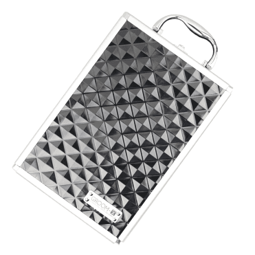 black case with silver metal trim, featuring a raised geometric design