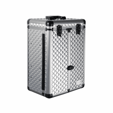 GroomX Large Storage Case With Wheels, silver geometric pattern