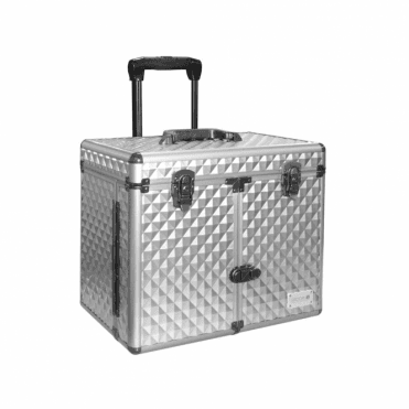 GroomX Medium Storage Case With Wheels, silver geometric design, telescopic handle