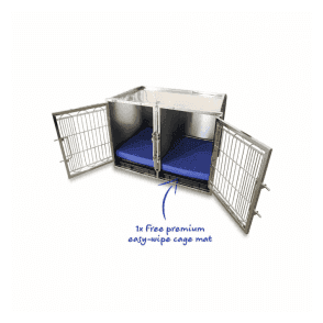 Large Premium Stainless Steel Waiting Cage & Easy Wipe Cage Mat Bundle