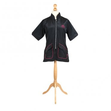 Mandarin Collar Jacket - Black with Pink Piping