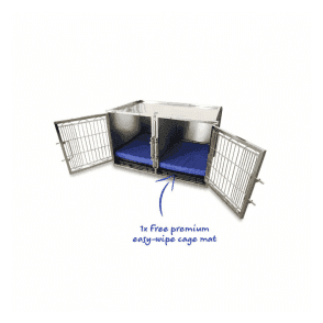Medium Premium Stainless Steel Waiting Cage & Easy Wipe Cage Mat Bundle