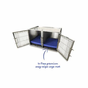 Medium Premium Stainless Steel Waiting Cage & Easy Wipe Cage Mat Bundle