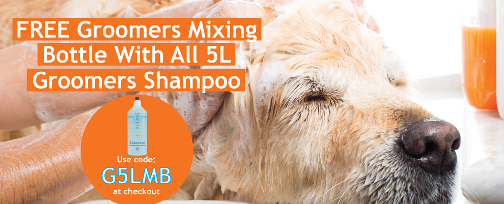 FREE Groomers Mixing Bottle With All 5L Groomers Shampoo - Use Code G5LMB