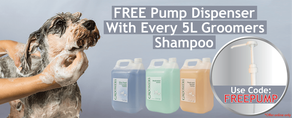 FREE Pump Dispenser With Every 5L Groomers Shampoo