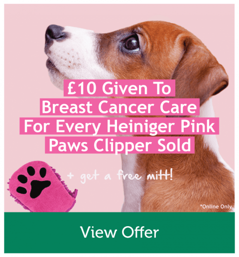 £10 Given to Breast Cancer Care For Every Heiniger Pink Paws Clipper Sold