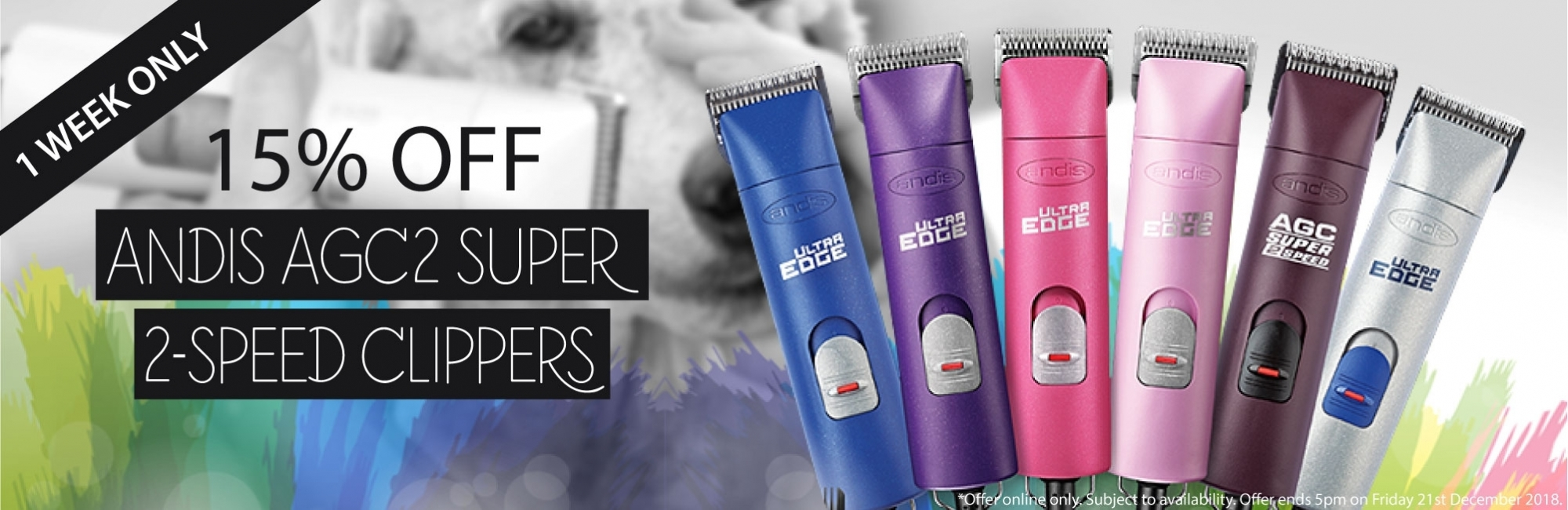 15% OFF ANDIS AGC2 SUPER 2-SPEED CLIPPERS