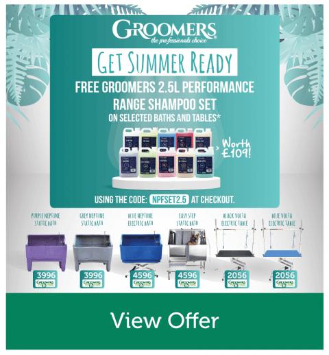 Free Groomers 2.5L Performance Range Shampoo Set On Selected Baths & Tables