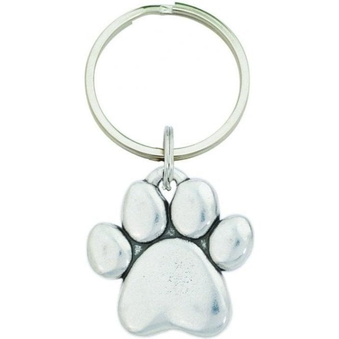 Pewter Sculpted Paw Keychain