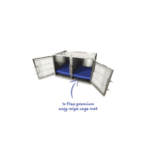 Small Premium Stainless Steel Waiting Cage & Easy Wipe Cage Mat Bundle